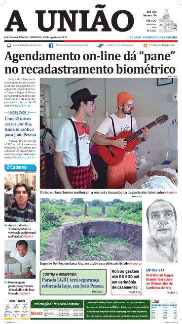 Capa A União 25 08 13 - Jornal A União