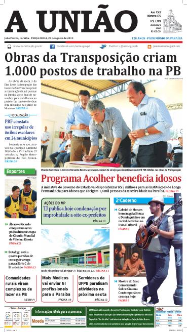 Capa A União 27 08 13 - Jornal A União