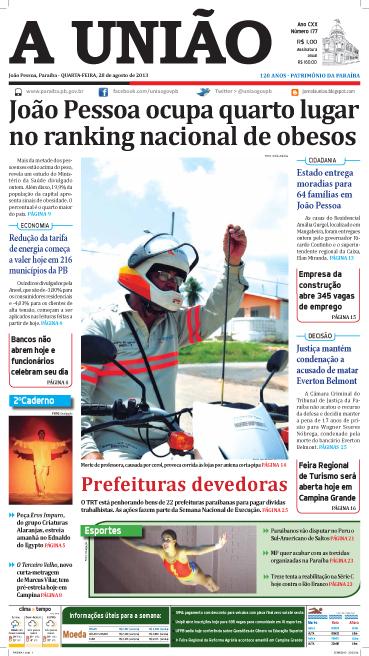 Capa A União 28 08 13 - Jornal A União