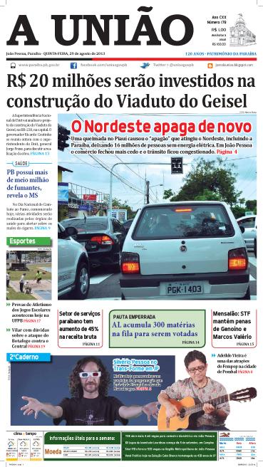 Capa A União 29 08 13 - Jornal A União