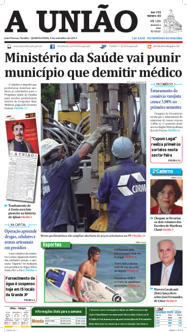 Capa A União 04 09 13 - Jornal A União