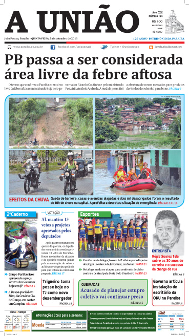 Capa A União 05 09 13 - Jornal A União
