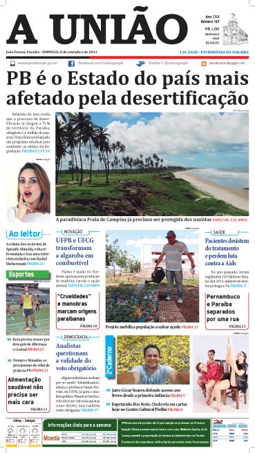Capa A União 08 09 13 - Jornal A União