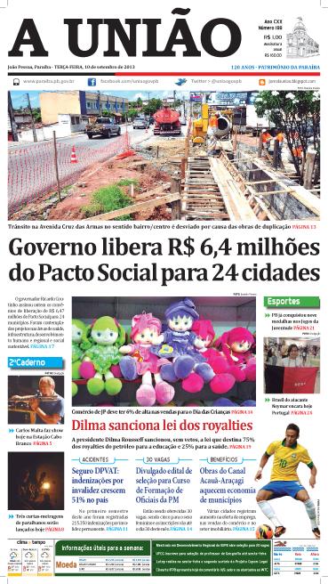 Capa A União 10 09 13 - Jornal A União