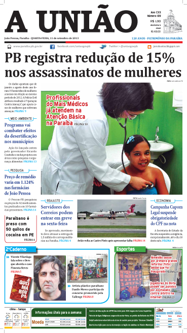 Capa A União 11 09 13 - Jornal A União
