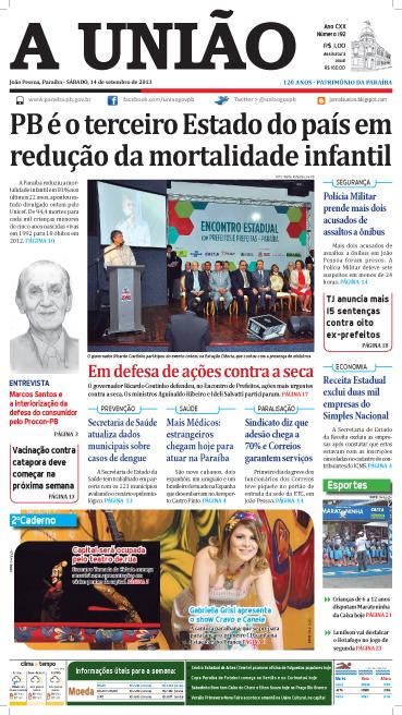 Capa A União 14 09 13 - Jornal A União