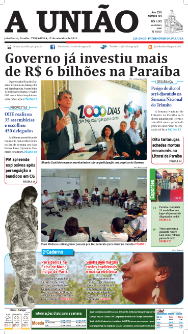 Capa A União 17 09 13 - Jornal A União