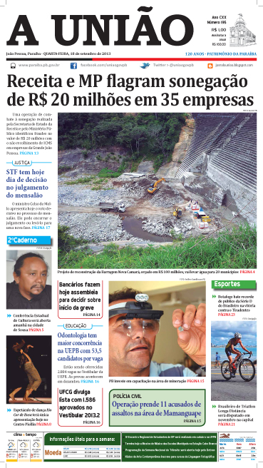 Capa A União 18 09 13 - Jornal A União