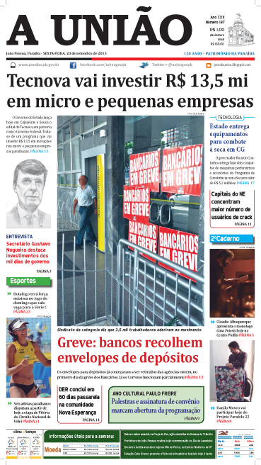 Capa A União 20 09 13 - Jornal A União