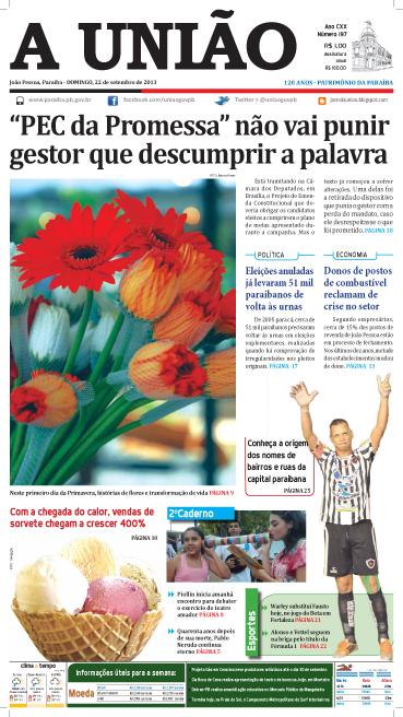 Capa A União 22 09 13 - Jornal A União