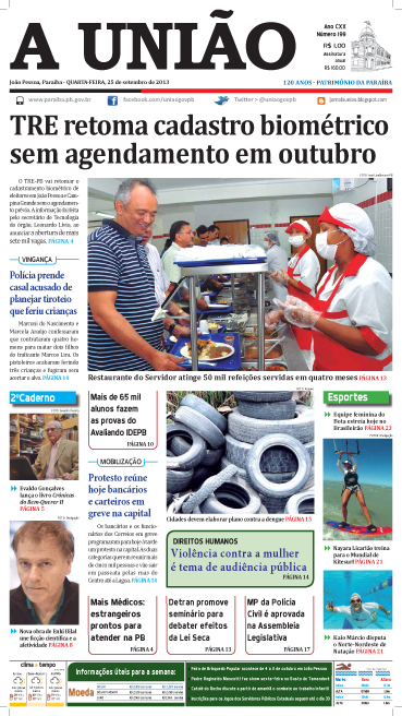 Capa A União 25 09 13 - Jornal A União