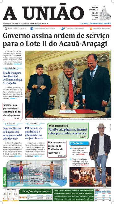 Capa A União 26 09 13 - Jornal A União