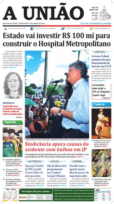 Capa A União 01 10 13 - Jornal A União