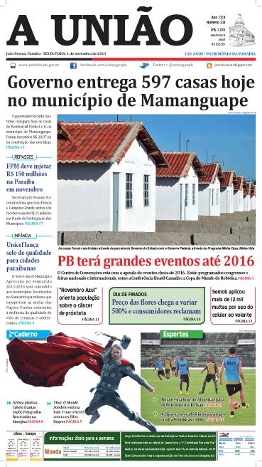 Capa A União 01 11 13 - Jornal A União