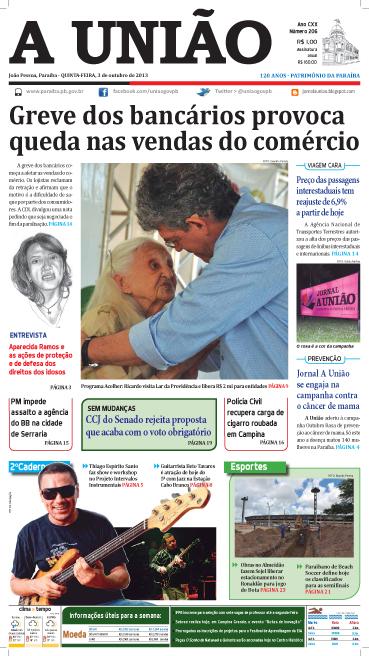 Capa A União 03 10 13 - Jornal A União