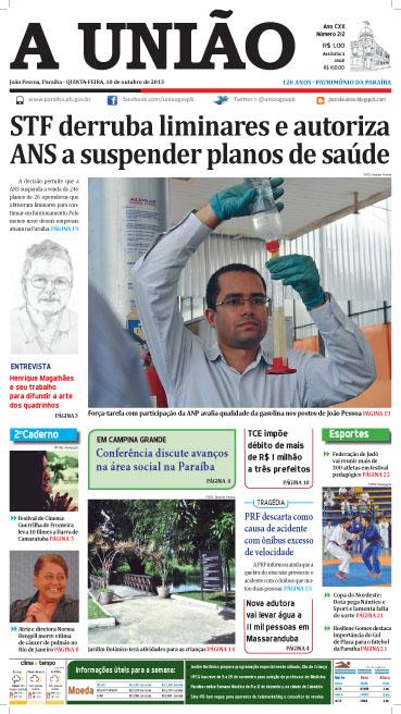 Capa A União 10 10 13 - Jornal A União