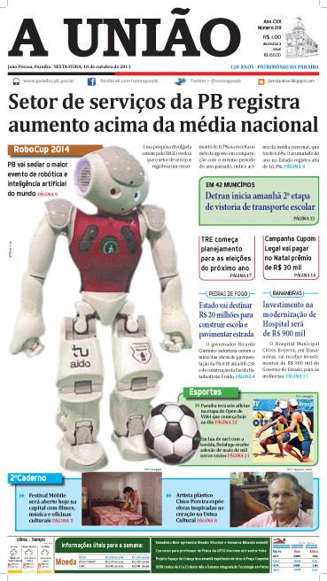 Capa A União 18 10 13 - Jornal A União