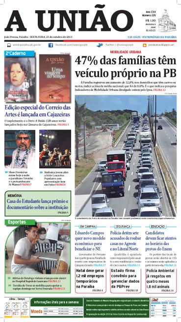 Capa A União 25 10 13 - Jornal A União