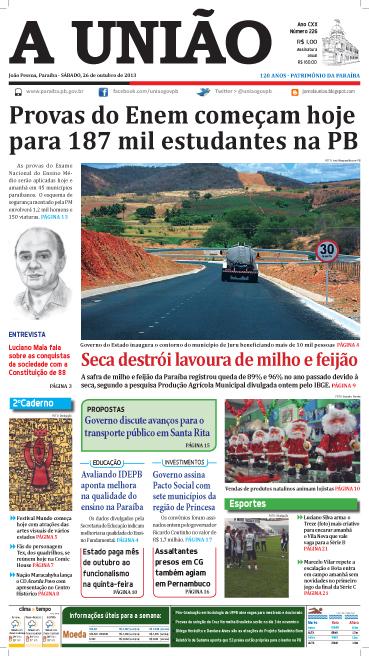 Capa A União 26 10 13 - Jornal A União