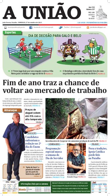 Capa A União 27 10 13 - Jornal A União