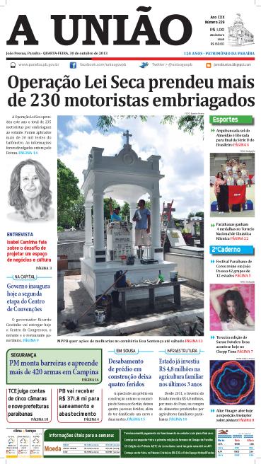 Capa A União 30 10 13 - Jornal A União