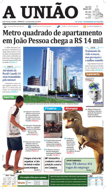 Capa A União 01 12 13 - Jornal A União