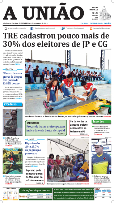 Capa A União 06 11 13 - Jornal A União