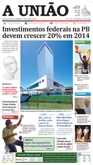 Capa A União 17 11 13 - Jornal A União