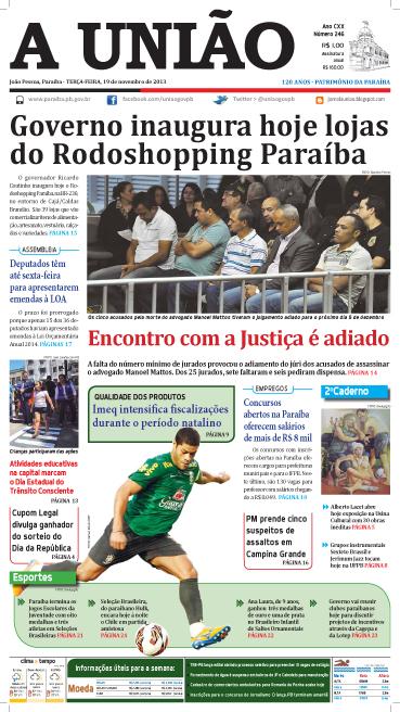 Capa A União 19 11 13 - Jornal A União