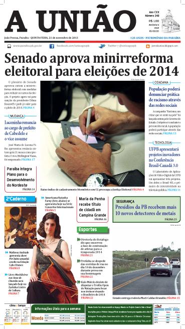 Capa A União 21 11 132 - Jornal A União