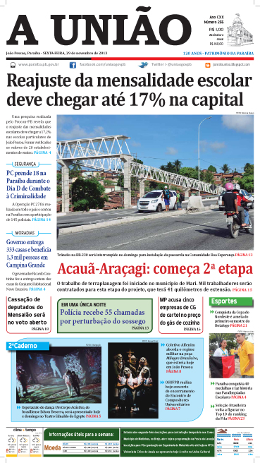 Capa A União 29 11 13 - Jornal A União