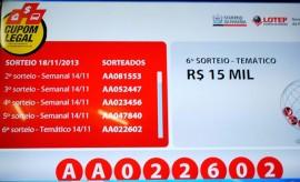 Tela com códigos dos sorteados em 18 de novembro 270x164 - Cupom Legal divulga ganhador do prêmio temático de R$ 15 mil
