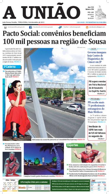 Capa A União 03 12 13 - Jornal A União