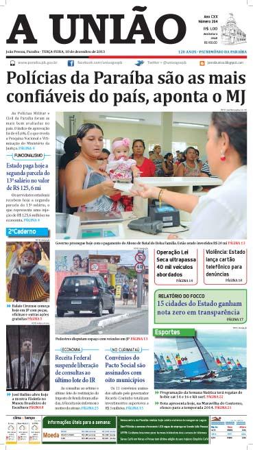 Capa A União 10 12 13 - Jornal A União