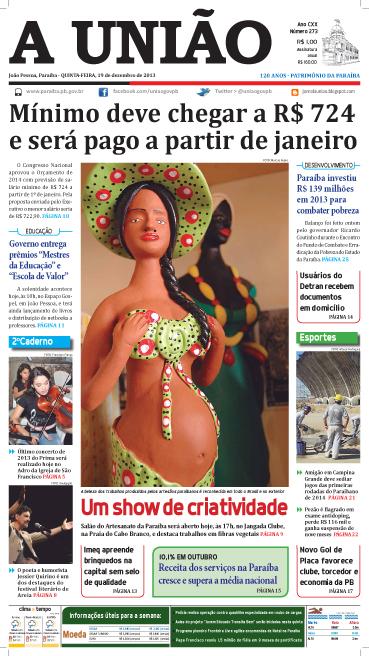 Capa A União 19 12 13 - Jornal A União
