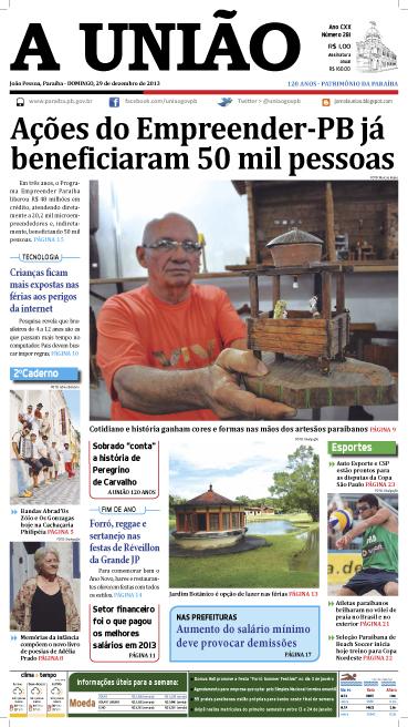 Capa A União 29 12 13 - Jornal A União