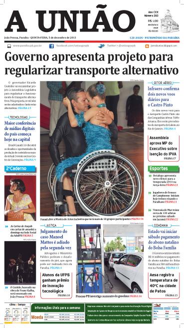 Capa A União em PDF 05 12 131 - Jornal A União