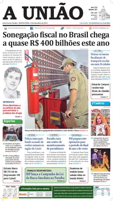 Capa A União em PDF 12 12 13  - Jornal A União