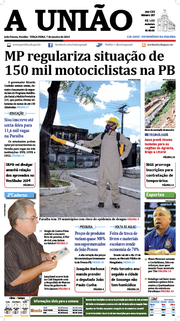 Capa A União 07 01 14 - Jornal A União