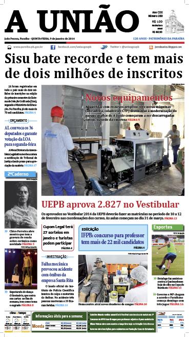 Capa A União 09 01 14 - Jornal A União