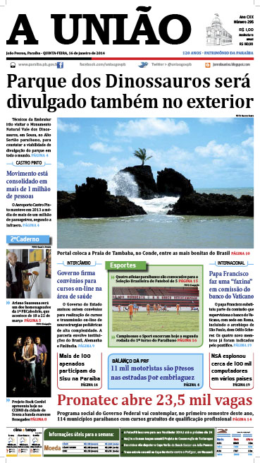 Capa A União 16 01 14 - Jornal A União