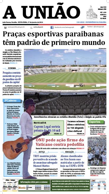 Capa A União 17 01 14 - Jornal A União
