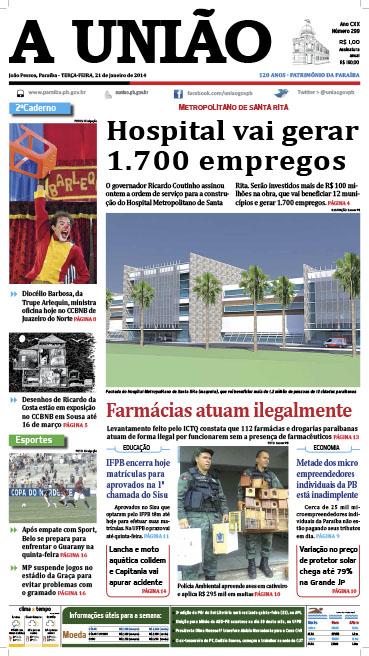 Capa A União 21 01 14 - Jornal A União