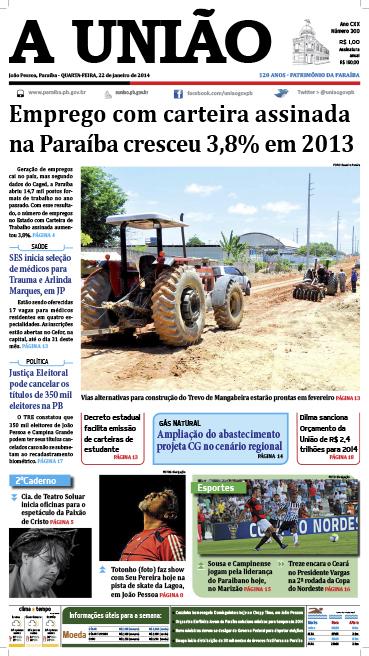 Capa A União 22 01 14 - Jornal A União