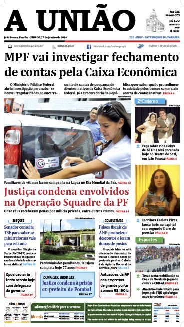 Capa A União 25 01 14 - Jornal A União