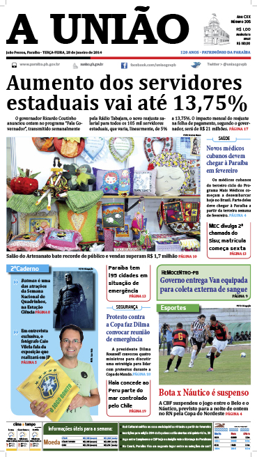 Capa A União 28 01 14 - Jornal A União