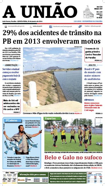 Capa A União 30 01 14 - Jornal A União