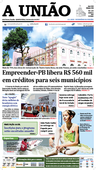 Capa A União 05 02 14 -  Jornal A União