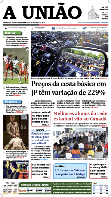 Capa A União 06 02 14 - Jornal A União