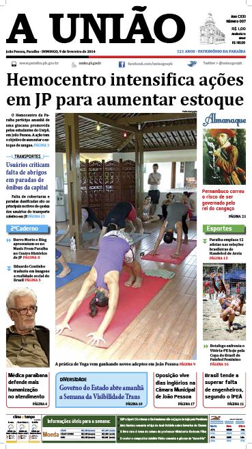Capa A União 09 02 14 - Jornal A União